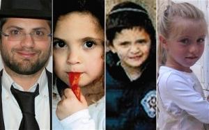 Van links naar rechts: vader Rabbi Jonathan Sandler, zijn twee zoons Gabriel and Aryeh, en Myriam Monsonego