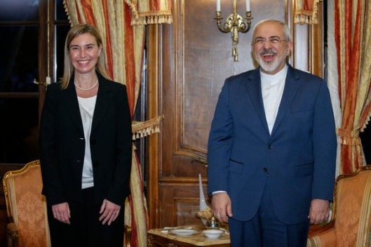 Mogherini with the representative of the messianistic-apocalyptic-theocratic regime that she helped get the atomic bomb: worth a good laugh!
