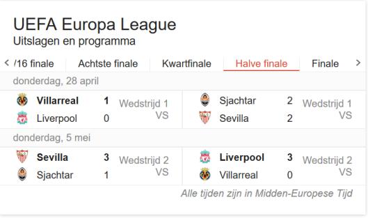 Liverpool - Villa Real: op donderdag 5 mei gespeeld, dus