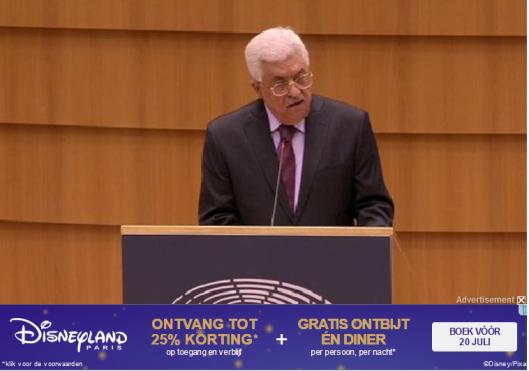 Abbas spreekt het europarlement toe en de reclame eronder kon niet toepasselijker zijn