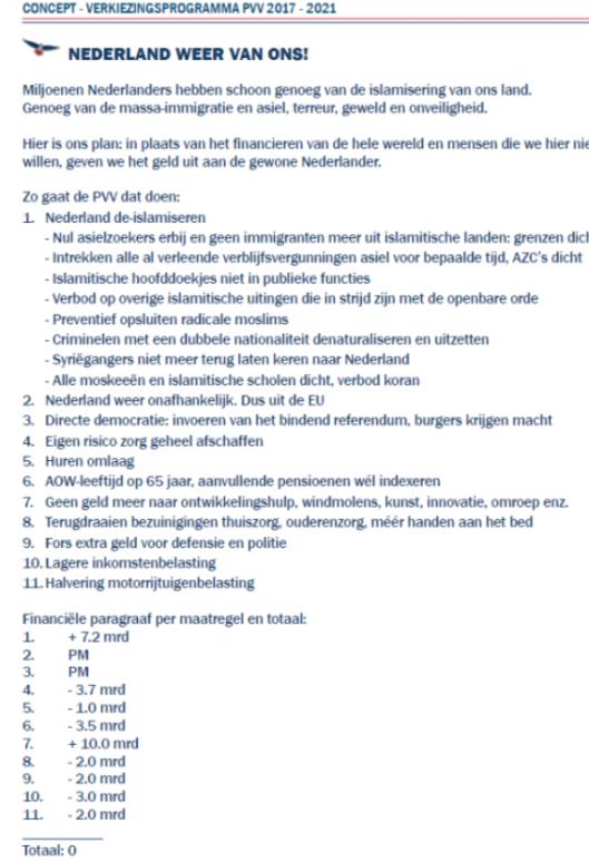 PVV VERKIEZINGSPROGRAMMA 2016 CONCEPT