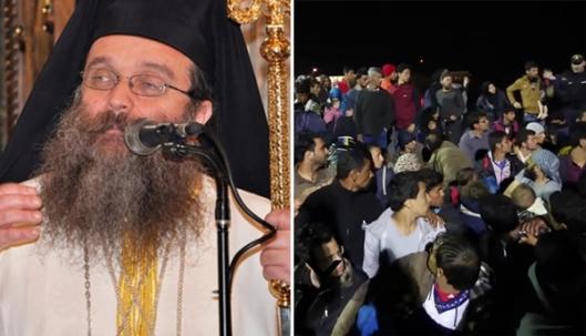 Links: De bisschop van het Griekse eiland Chios, Markos Vasilakis, die wordt vervolgd voor het aanzetten tot rassenhaat omdat hij terecht opmerkte dat het merendeel van de migranten vanuit Turkije naar Griekenland geen vluchtelingen waren, maar illegale migranten. Rechts: Migranten bezetten de haven van Chios in april 2016.