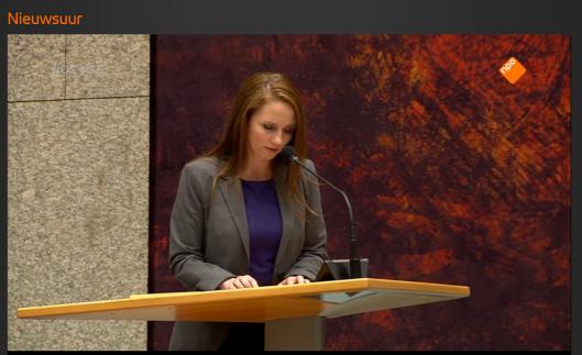 Fleur Agema gisteren tijdens het voltooid-leven-debat in de Tweede Kamer