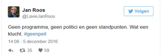 Wat Jan Roos zegt is natuurlijk al helemaal alléén maar rancune