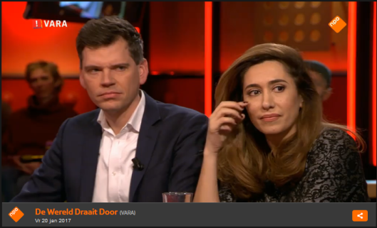 De correspondent  en het allochtone meisje zijn onder de indruk van wat de Belg over Trump zegt