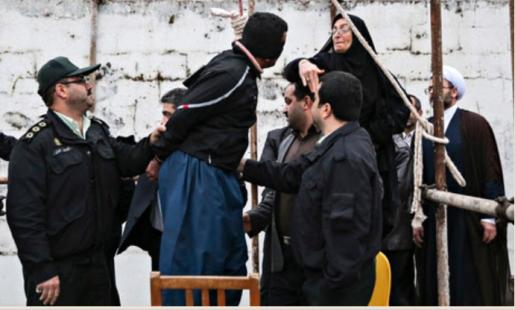 IRAN OPHANGING MET VLEERMUISWIJF