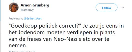 GRUNBERG VOET NEO NAZI TWEET